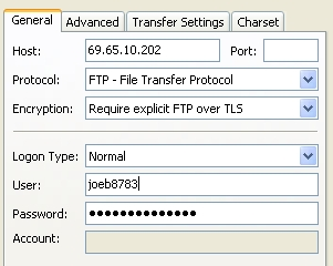 FileZilla FTP Server Screen